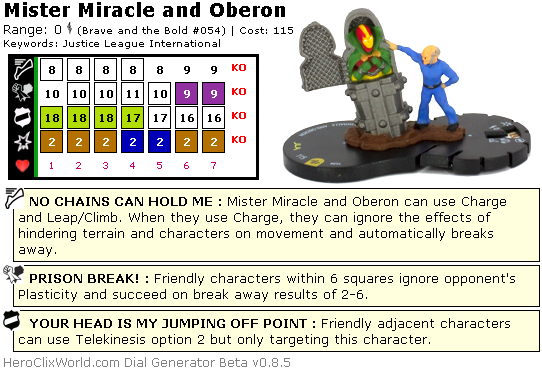 Mister Miracle and Oberon HeroClix Dial