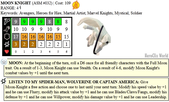 HeroClix Moon Knight Dial