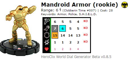 Mandroid Armor HeroClix Dial