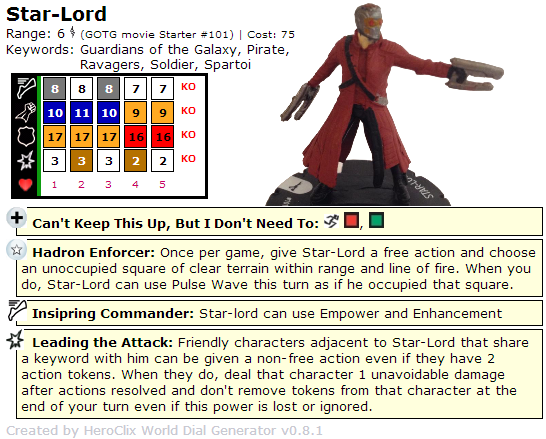 HeroClix World Star-Lord Dial