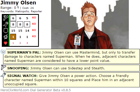 The Quintessential HeroClix Jimmy Olsen Dial