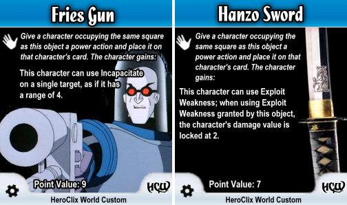 HeroClix Special Objects Fries Gun Hanzo Sword